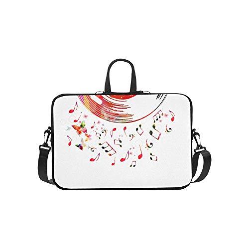 15.6″Durable Hombro Mensajero Bolsa maletín PC Cartel de música Colorida Disco de Vinilo Música Moda Impermeable Ordenador Portátil/portátil/Tablets