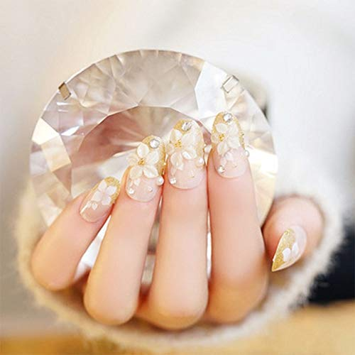 Rpbll New Arrival 24pcs Lady Wedding Fake Nails White Flowers Shining 3D Diamond Rhinestone Full Cover Long Round Head False Nails as the picture show