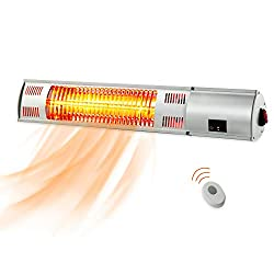 PAMAPIC Patio Heater, Electric Heater with Remote Control, Indoor/Outdoor Wall-Mounted Infrared Heater,Rose Golden Tube for Instant Warm, 1500W OutsidePatioHeater for Garage, Backyard, Restaurant