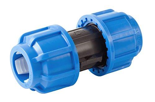 Boutté PEJ25 Jonction Plastique egale polyethylene Tuyau ø25, Bleu
