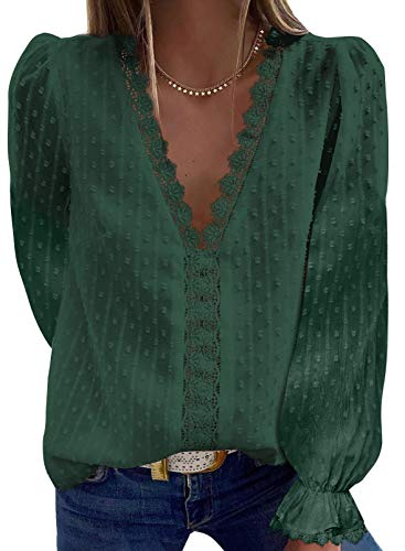 Dokotoo Womens Ladies 2021 Spring Sexy Lace Crochet Pom Pom V Neck Strappy Balloon Long Sleeve Shirts Casual Loose Solid Chiffon Blouses for Women Tops Green 2XL