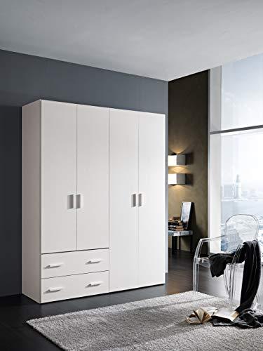 InHouse srls Armadio in Legno, 4 Ante + 2 cassetti, Bianco Frassinato, Mis. H 211 x L 163,4 x P 53,3