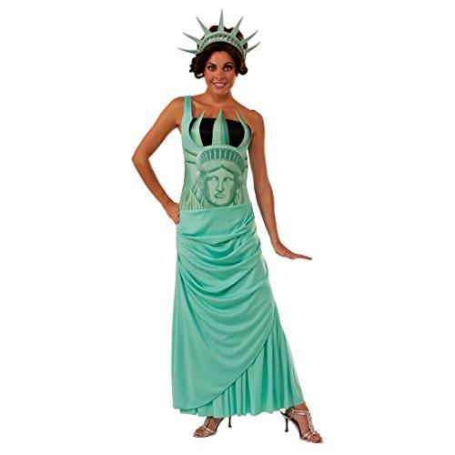 Lady Liberty Damenkostüm - STD (36 - 42) - Miss Liberty Outfit USA Faschingskostüm Amerika Statue Verkleidung Damen Wahrzeichen New York Karnevalskostüm Freihheitsstatue Kostüm