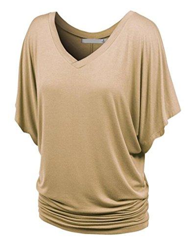 NiSeng Donne V-Collo Shirring Manica Pipistrello Maglietta Tunica Pieghe Balze Manica Colore Solido Camicie Casual Kaki M