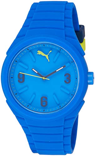 Puma Gummy - Reloj análogico de cuarzo con correa de silicona unisex, color azul
