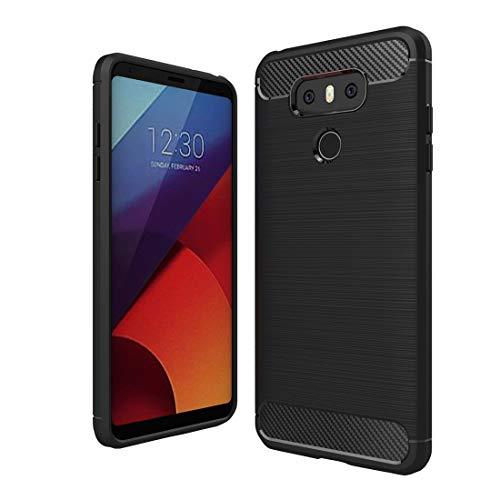 ZAORUN Funda protectora para teléfono móvil compatible con LG G6 Textura de fibra de carbono cepillada a prueba de golpes TPU Funda protectora (Negro) (Color: Negro)
