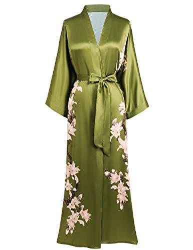 BABEYOND Damen Morgenmantel Kimono Blumen Zweig Gedruckt Maxi Lang Damen Bademantel Birnenblumen Strandjacke Braut Junggesellinnenabschied Party Schlafmantel (Grün)