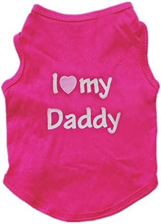 Alroman Puppy Vest Fuchsia Dogs Shirts for Father s Day with I Love My Daddy Letters Small Clothing product image