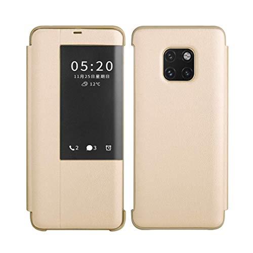 SevenPanda Window View Handyhülle für Huawei Mate 20, Automatisches Aufwecken/Schlafen Litschi Leder Cover Intelligenter Flip Rutschfester Ständer Cover Case für Huawei Mate 20 - Gold