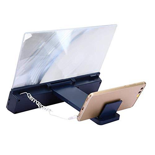 Lupa portátil de 12 pulgadas para teléfono móvil, lupa para pantalla de teléfono, escritorio, amplificador de pantalla para teléfono móvil, lupa con soporte de sonido para teléfono móvil