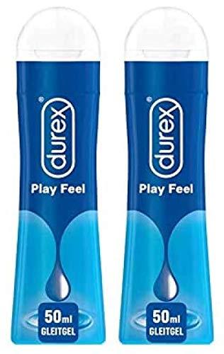 Durex Play Feel Gleitgel auf Wasserbasis - Leichtes, seidiges Gleitmittel für gefühlsechtes Empfinden in der praktischen Dosierflasche, (2 x 50 ml), 100 ml