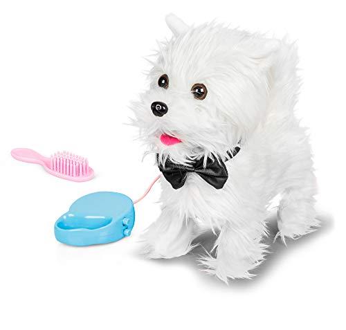 Animigos 37178 Walking Westie, süßer weißer Plüschhund, ca. 22 cm groß, kann laufen und bellen, mit Bürste und Leine, für Kinder ab 18 Monaten
