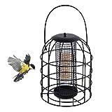 Mankoo Alimentador de Tubo de Jaula de Hierro para Exteriores, alimentador de pájaros Colgante a Prueba de Ardillas, alimentador de pájaros Salvajes, Herramienta automática de alimentación de pájaros
