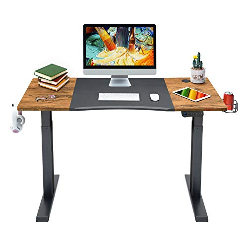 Mr IRONSTONE Electric Height Adjustable Desk 47.2' Standing Desk Sit to Stand Home Office Computer Desk with Splice Board, Cup Holder, Headphone Hook and Cable Management (Black+Vintage)