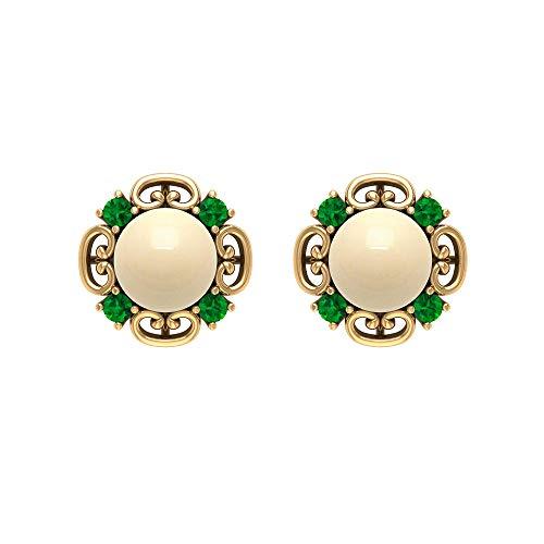 Pendientes de perlas cultivadas japonesas de 7 mm, pendientes de esmeralda de 2 mm, pendientes de oro vintagetornillo hacia atrás
