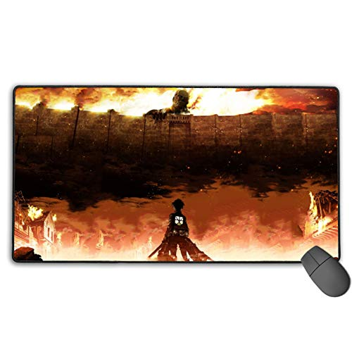 Att-ack On Titan Mouse Pad 29.5 X15.7 in Japan Anime Mouse Mat Gaming Mouse Office Desktop Pad Rectangle Keyboard Pad (40x75cm)