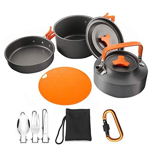 Utensilios Cocina Camping Kit, Utensilios De Cocina Kit con Hervidor Olla Pan De Cocinar Al Aire Set para 2-3 Personas Senderismo Picnic 9pcs Naranja