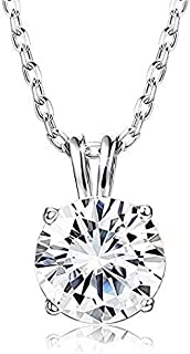 GIVA 925 Sterling Silver Classic Zircon Solitaire Pendant With Chain | Necklace for Women & Girls | With Certificate of Au...
