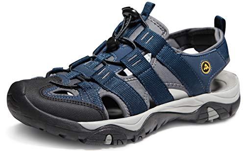 ATIKA Men's Outdoor Hiking Sandals, Closed Toe Athletic Sport Sandals, Lightweight Trail Walking Sandals, Summer Water Shoes, All Terrain Orbital(m107) - Navy, 9