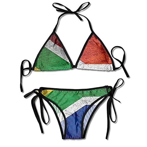 DRXX Bikini a Due Pezzi da Donna Set Bandiera del Sud Africa USA Costume da Bagno Vintage Halter Imbottito Push Up Beachwear per Beach Pool Surf Nero