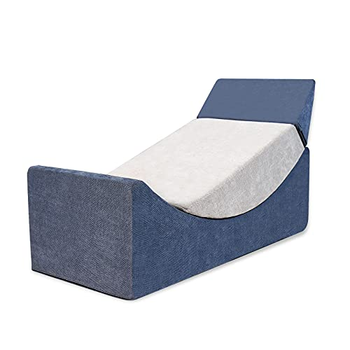 CCLIFE Pouf Trasformabile in EPE Chaise Longue Trasformabile Chaise Longue in Tessuto Simile Al Lino Pouf Singolo 110×50×36 CM, Colore:Blu+Grigio