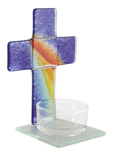 Glazen kruis met glazen theelichthouder