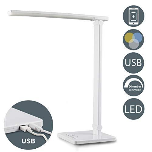 LED Tischlampe weiß 5W | Tischleuchte dimmbar | faltbar inkl LED-Leuchtmodul | 7 Helligkeitsstufen | 5 Farbtemperaturen | Touch Control | 500lm I Schreibtischleuchte