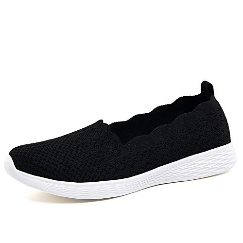 Puxowe Scarpe Mocassini Slip On da Donna Eleganti Leggere Fitness Casual Outdoor Passeggio Maglieria Piatte Sneakers 38.5 EU Black