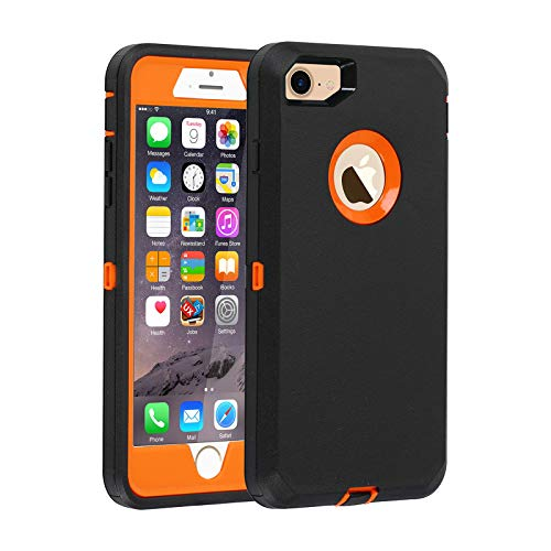 Co-Goldguard Case for iPhone 7 Heavy Duty iPhone 8 Cover Durable 3 in 1 Built-in Screen Protector Hard Cover Dust-Proof Shockproof Drop-Proof Shell (Black Orange)