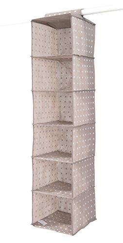 COMPACTOR Rivoli Portatutto a sospensione per Scarpe e Vestiti, 6 scomparti, Fissaggio con velcro, Fino a 6 kg, Marrone, Polipropilene