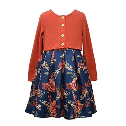 Bonnie Jean Girl's Thanksgiving Dress with Cardigan - Navy Floral Dress with Orange Sweater Cardigan, Navy/Orange Floral, 6