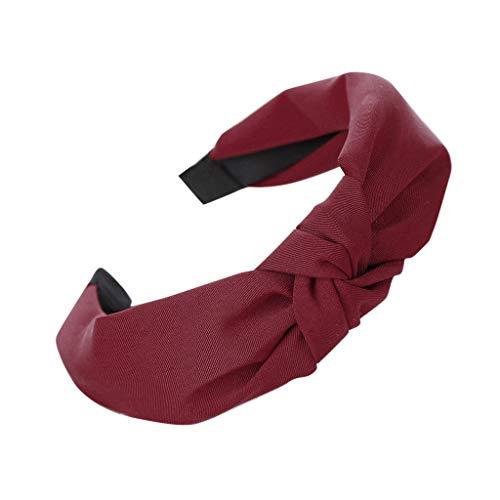 Wascoo Stirnband Damen Kopfband Stirnbänder Eelastische Haarband Turban Knoten Hairband Frauen Haarreifen Damen Sport Yoga Dusche Stirnband Haar Zubehör(Rot)