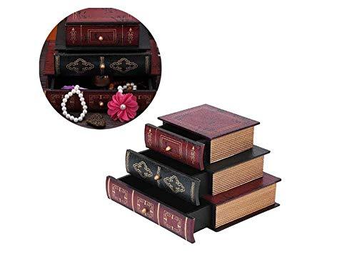HAOGUO Sieradendoos, hoogwaardige geschenkdoos, woondecoratie, ladekast, vintage boekendoos, model