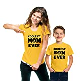 Hangout Hub Coolest Mom Ever, Coolest Son Ever (Yellow;Mom XL;Son 2-4Yrs) Cotton Printed