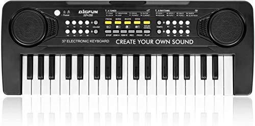 BIGFUN Kids Keyboard Piano, 37 Key Multifunction Mini Musical Piano Keyboard Toys for Over 3 Year Old Boys and Girls (Black)