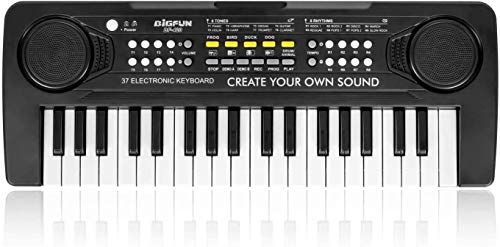 BIGFUN Kids Piano Multifunction Music Educational Instrument Toy Keyboard Piano for Kids (37Keys, Black)