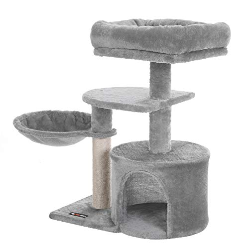 FEANDREA Cat Tree, Small Cat Tower, Condo, Scratching Post, Light Gray UPCT59W