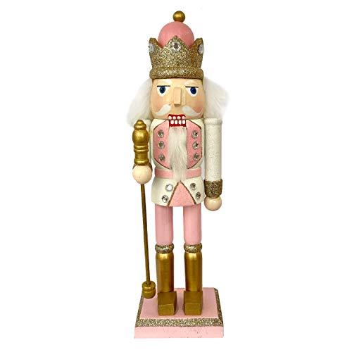 Knüllermarkt 32390 I Nussknacker König Weihnachten I rosa weiß Glitzer I Weihnachtsdeko Figur Deko Pelz