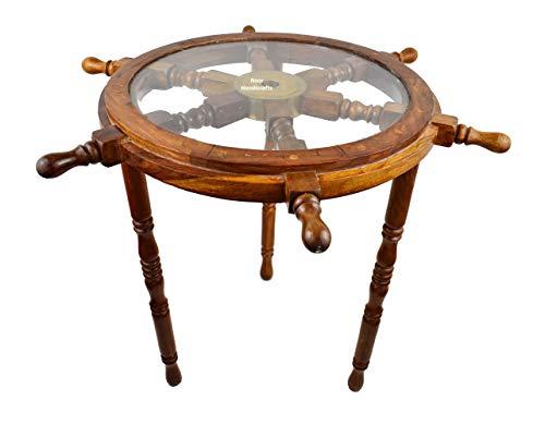 Noor Handicrafts - Tavolino in legno, decorazione per la casa, in vetro, motivo: pirata in ottone anticato Art Deco 24 x 24 x 20 inches Finitura laccata.