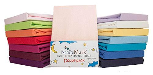 2er Sparpack Kinder Spannbettlaken Jersey 100% Baumwolle für Kinderbettmatratzen ÖKO Tex Geprüft- Gr. 70 x 140 cm, Rosa
