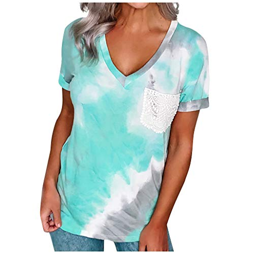 YANFANG Camiseta de Manga Corta teñida Anudada Tie Dry con Estampado Suelto con Cuello en V a la Moda para Mujer Casual Verano, Blue,XXL