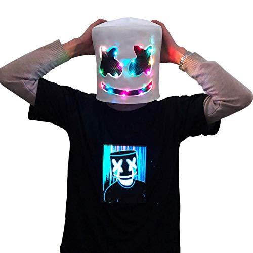 DJ Marshmallow LED Light Mask, Music Festival Marshmallow Full Head Casco de Látex Máscara de Halloween Fiesta de Disfraces Cosplay Bar Props(Decoloración)