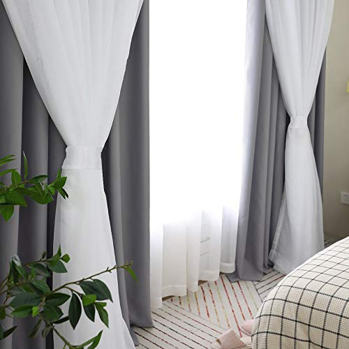 PONY DANCE Window Curtains with Sheer - Solid Blackout Triple Woven Curtains Double Layers for Living Room/Dining Room, 52 W by 108 L, Grey, 2 Pieces