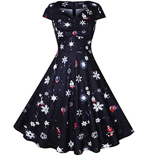 Holeider Damen Kleider Elegant Weihnachtskleider 50er Vintage Kurzarm Cocktailkleid Rundhals Knielang Rockabilly Kleid Weihnachtsmann Festliches Kleid Abendkleid