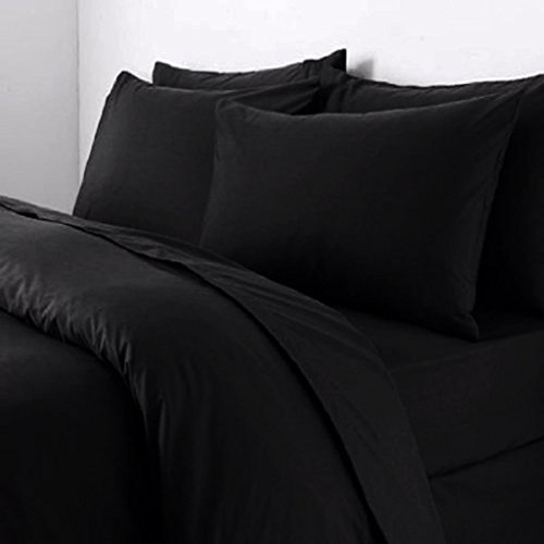 Sapphire Collection Plain Duvet Cover With Pillow Cases Non Iron Percale Quilt Cover Bedding Bedroom Set (Double, Black)