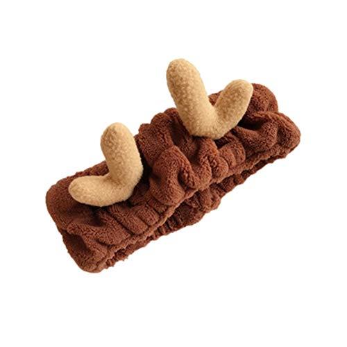 AIUIN Bandeau Cheveux élastique Style de bois de Noël pour Maquillage Lavage de Visage Douche - Brown