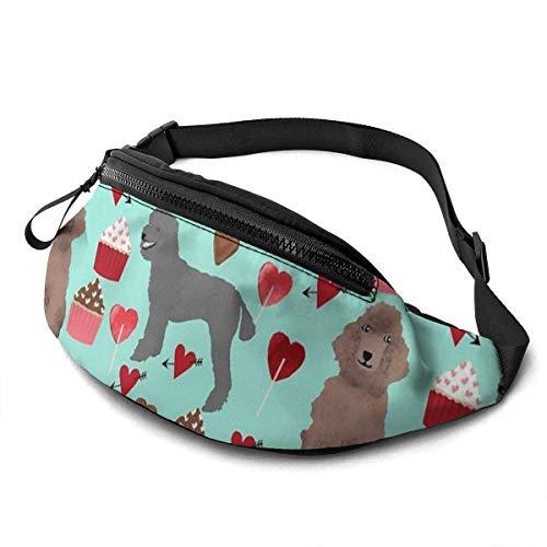 AOOEDM Poodle Dogs Printed Waist Bag, Fashion Travel Lightweight Belt Bag Adjustable Sports Running Waist Bag