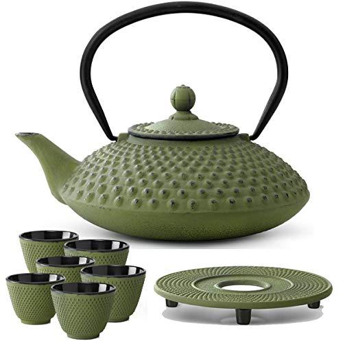 Bredemeijer theepot Aziatisch gietijzeren set groen 1,25 liter met thee-filterzeef met onderzetter en theebeker (6 kopjes)