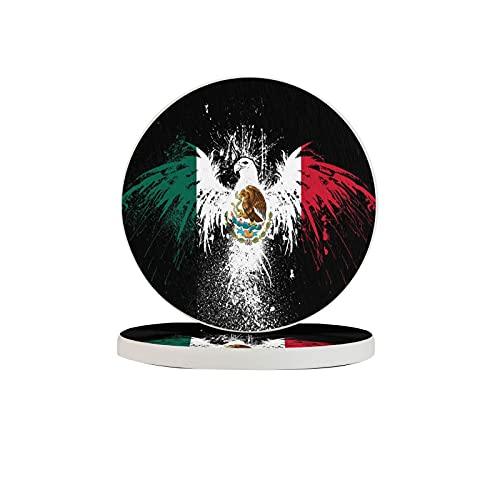 R&e Untersetzer für Getränke, Flagge von Mexiko, Adler, mexikanische Flaggen, absorbierende Kieselstein-Tassenuntersetzer, geeignet für Arten von Tassen