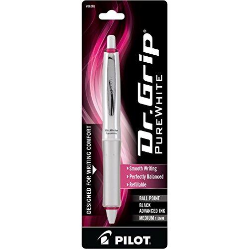 PILOT Dr. Grip PureWhite Refillable & Retractable Ballpoint Pen, Medium Point, Pink Accents, Black Ink, Single Pen (36205)